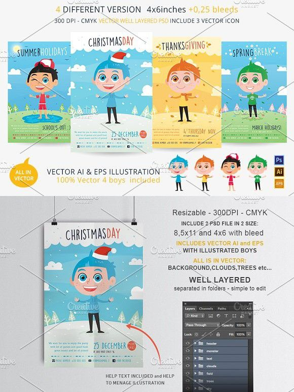 4 Season Kids Flyer 4 Flyer In 1 Flyer Template Template And