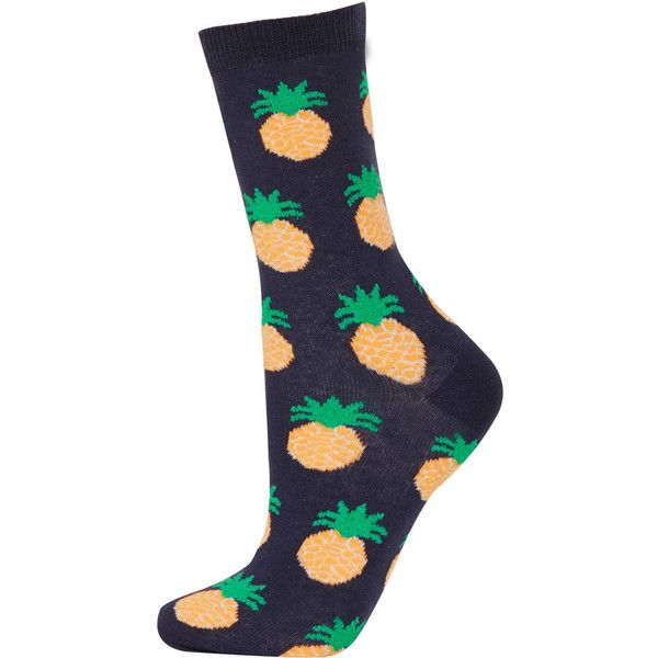 cd5264d89 TOPSHOP Navy Textured Pineapple Socks ( 6) ❤ liked on Polyvore featuring  intimates