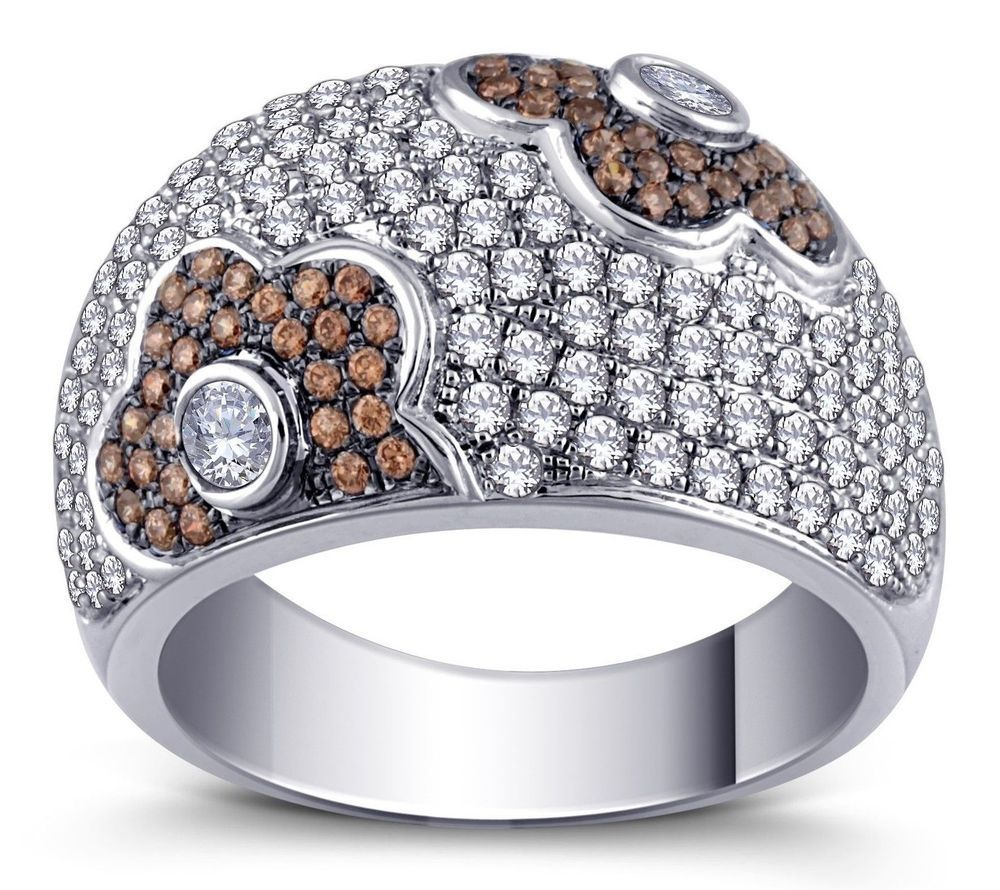 Brown And White Pave Set Cubic Zirconia Stones Flower Design Ring Sterling 925 #Unbranded #Statement