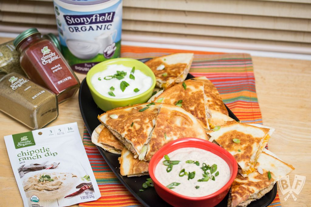 Chicken Quesadillas with Chipotle Ranch Dip: Simply seasoned chicken thighs are cooked in the Instant Pot till tender, then shredded + sandwiched between 2 types of cheese in this delicious recipe. #StonyfieldBlogger #OrganicMoments #ad