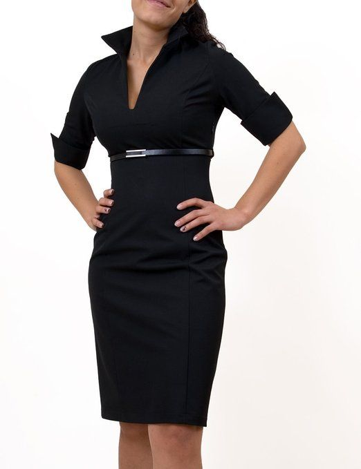 MBG Womens Fitted Shirt Dress - Black - X-Large: Amazon.co.uk ...