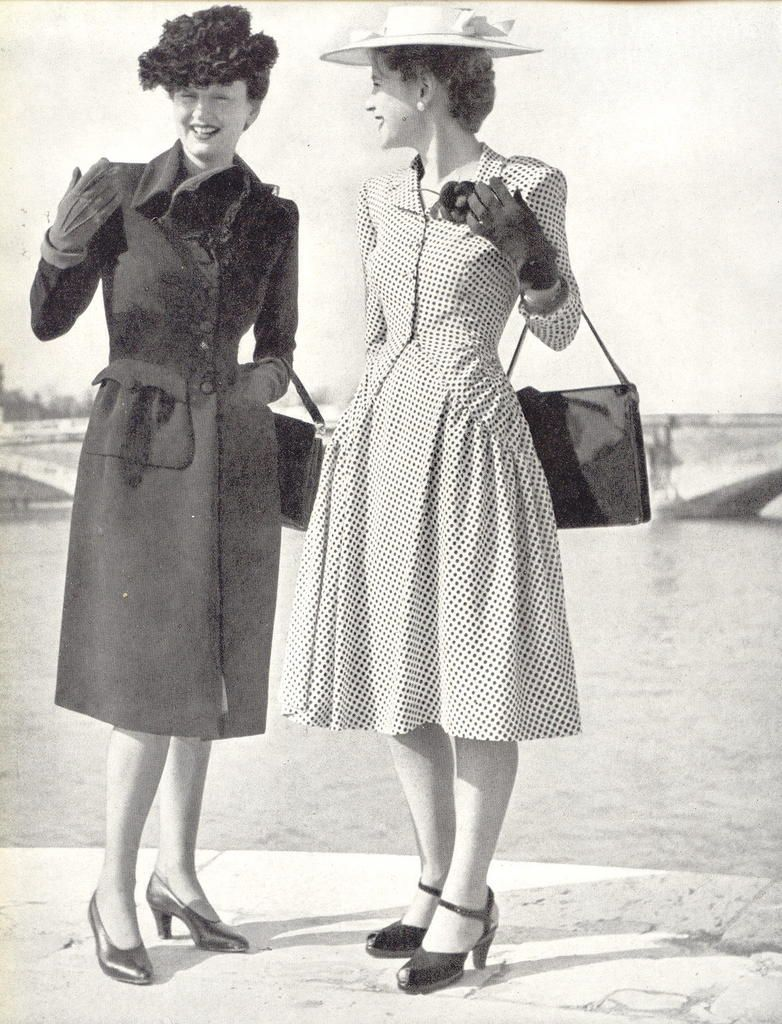 Fashion 1940s Two Female Models Flirty 40s Style Evening: 1940's Fashion - A Young Womans Wardrobe Plan 1947