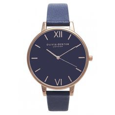 Olivia Burton Big Dial Navy Dial Watch - Navy & Rose Gold ($120) ❤ liked on Polyvore featuring jewelry, watches, accessories, navy jewelry, olivia burton, navy blue jewelry, dial watches and pink gold jewelry