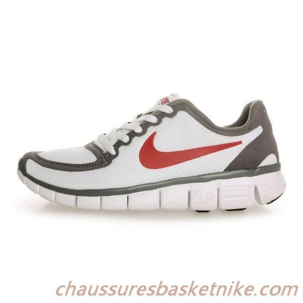 Pas cher et respirant Nike Free 5.0 V4 Hommes Chaussures de course Blanc / Rouge