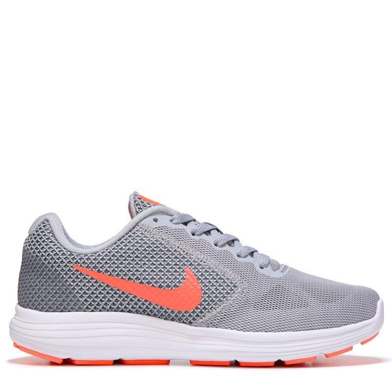 Nike Women's Revolution 3 Wide Running Shoes (Grey/Pink/Orange) - 11.0