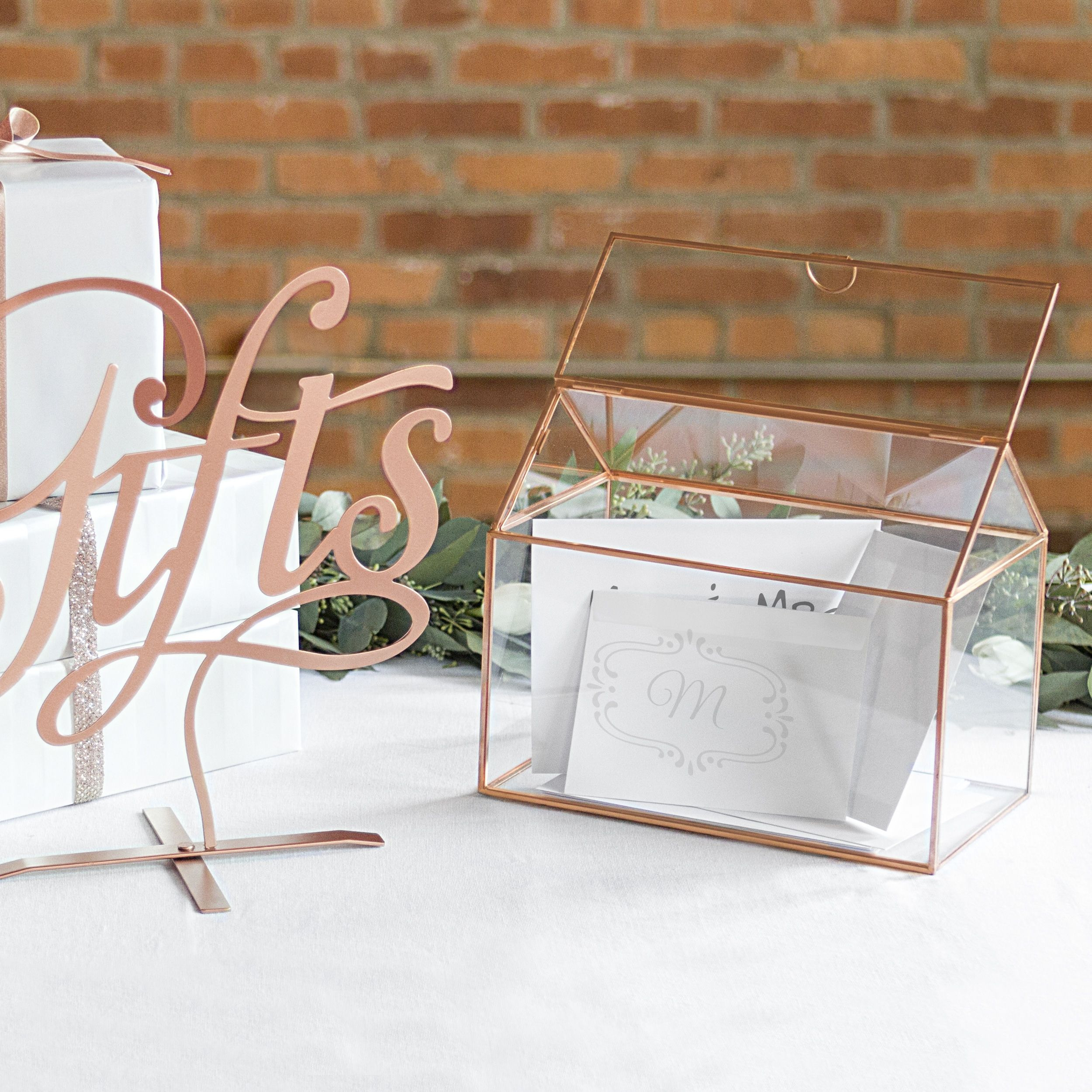 Personalized Glass Terrarium Reception Gift Card Holder Products