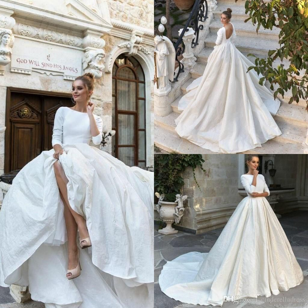2018 Ball Gown 3//4 Sleeve Backless Satin Wedding Dress Bridal Gown White Ivory