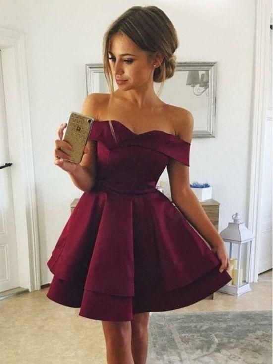 Cheap Off Shoulders Burgundy Mini Homecoming Dress ,Sweet 16 Dress,GDC1080 Our Email:dollygown@hotmail.com The long prom Dress are fully lined, 4 bones in the bodice, chest pad in the bust, lace up back or zipper back are all available, total 126 colors are available. When ordering our store allow you to add a note,please write your requirements in the note. 1.Size: Please refer to the above size chart, You can choose the dress in standard size . We need those measurements:(u can add your sizes