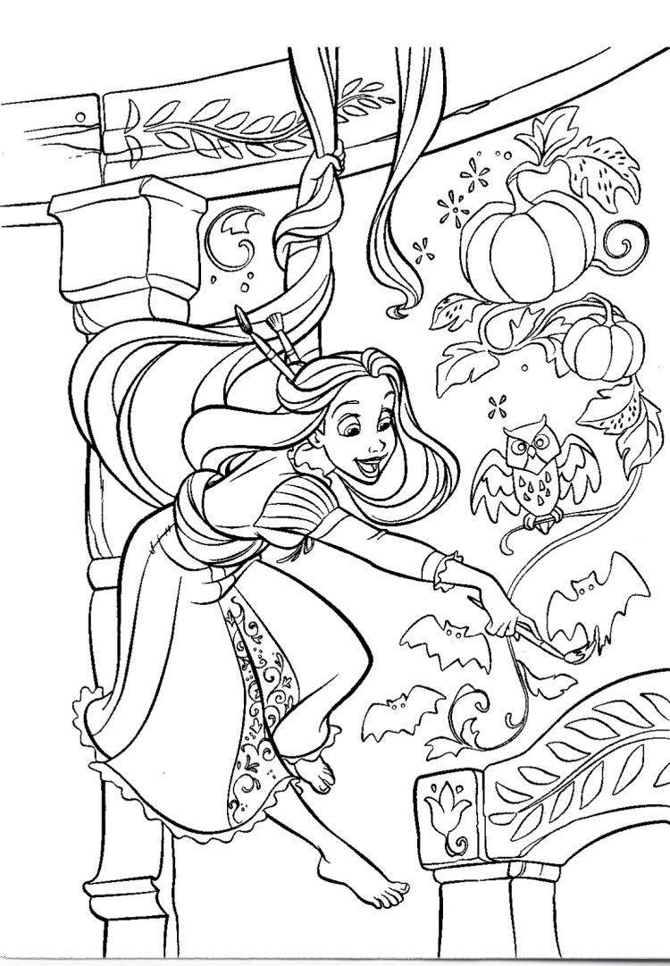 Rapunzel Painting Room Walls Coloring Pages | Coloring pages ...