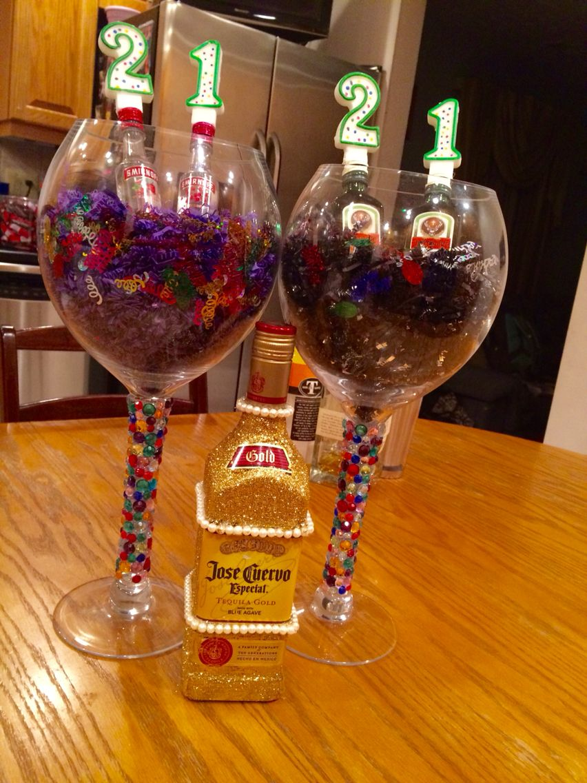 Decorated over size wine glasses and decorated alcohol