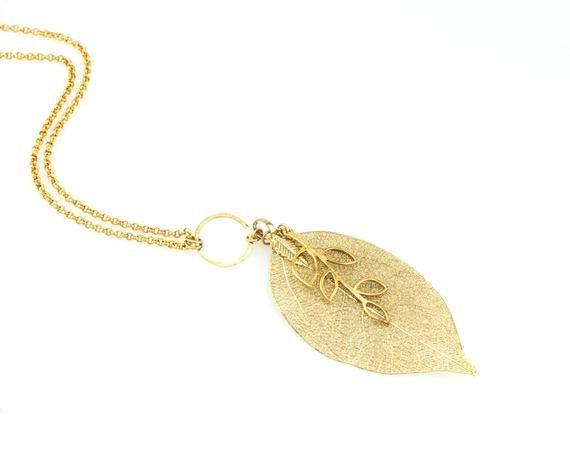 Photo of Lange Kette Halskette mit einem goldenen Blatt doppellagigen Anhänger – Geburtstagsgeschenkidee – Kostenloser Versand