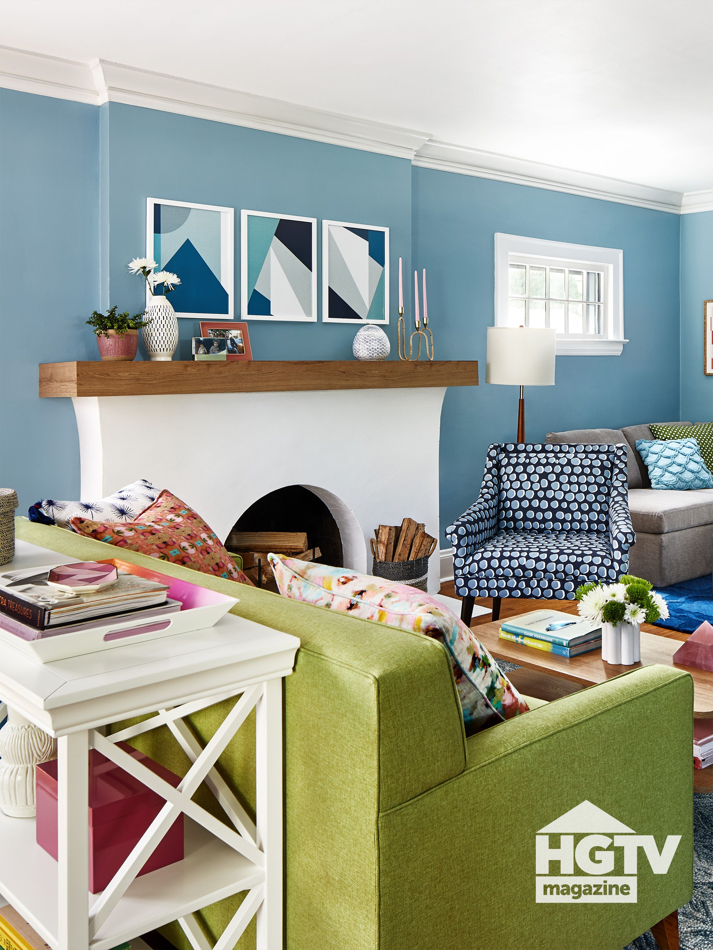 Before And After This Colorful Living Room Makeover Is So Inspiring Colourful Living Room Hgtv Living Room Green Couch Living Room