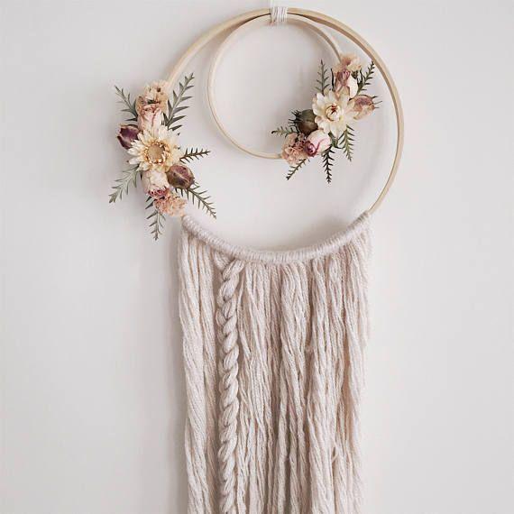 Boho Wandbehang | Boho Traumfänger | Trockenblumen | Blumenwandbehang | Traumfänger | Böhmisc... #dreamcatchers