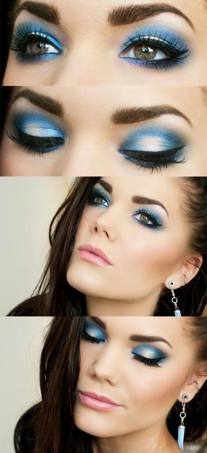 Maquillaje ojos vestido azul electrico