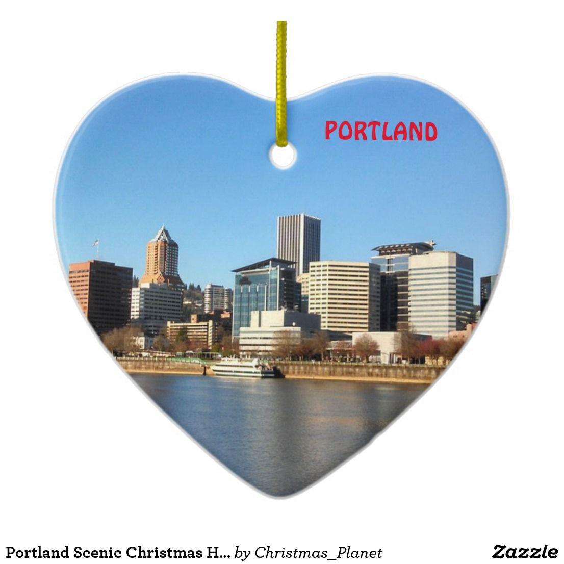 Portland Scenic Christmas Heart Ornament | Zazzle.com ...