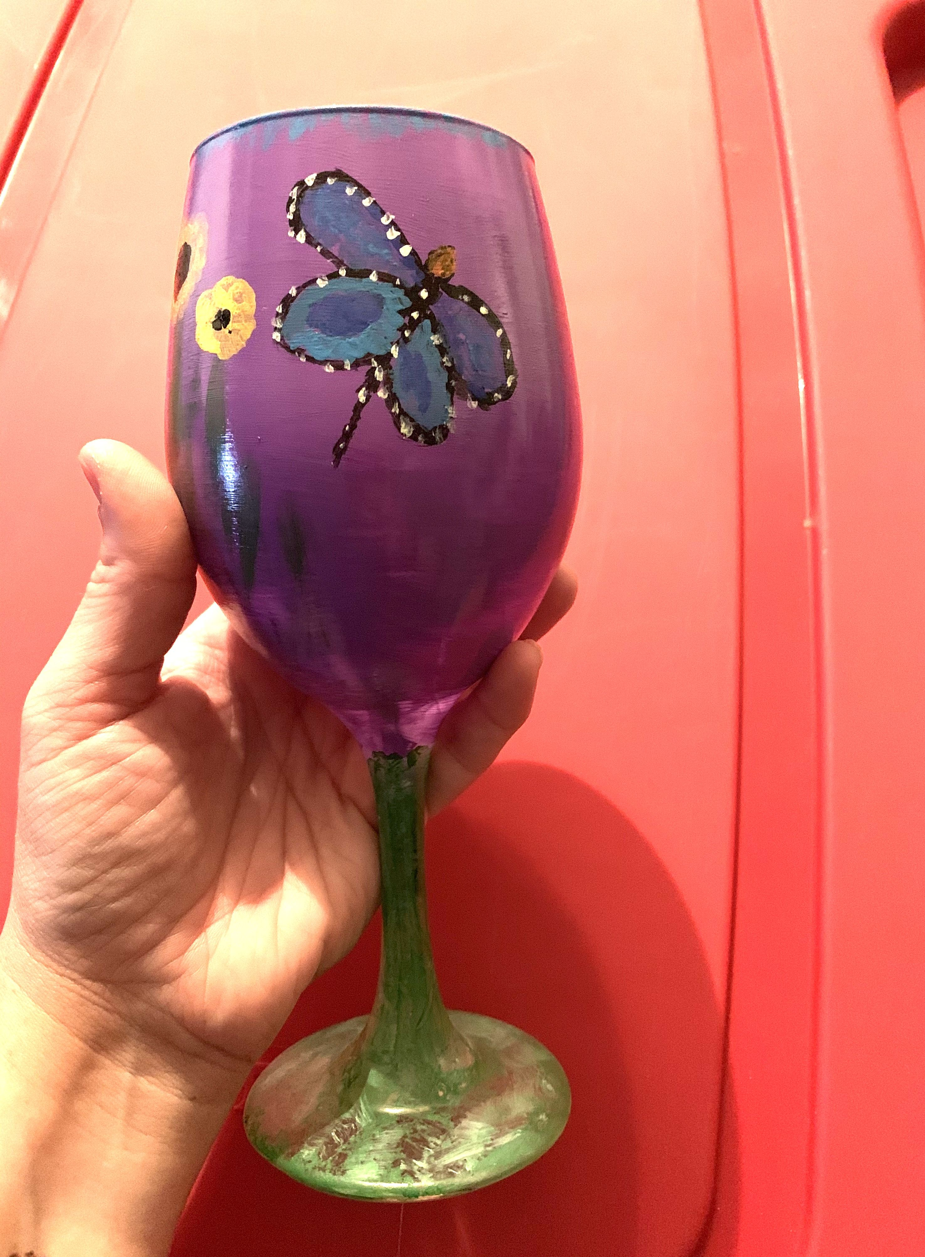 Butterfly Garden Wine Glass Painting By Andrea Glass Painting Wine Glass Glass