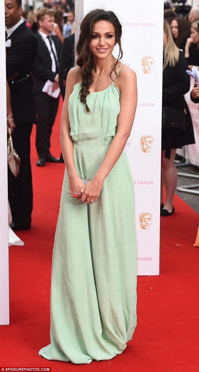 645c5dbed3cb7 Green goddess: Michelle Keegan looked as pretty as a picture as she walked  the red carpet .