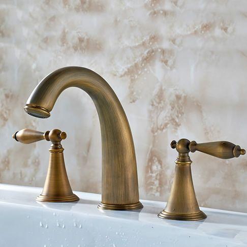 Antique Brass Finish Widespread Bathroom Sink Faucet T0453a T0453a 68 99 Bathroom Sink Taps Antique Brass Faucet Sink Taps