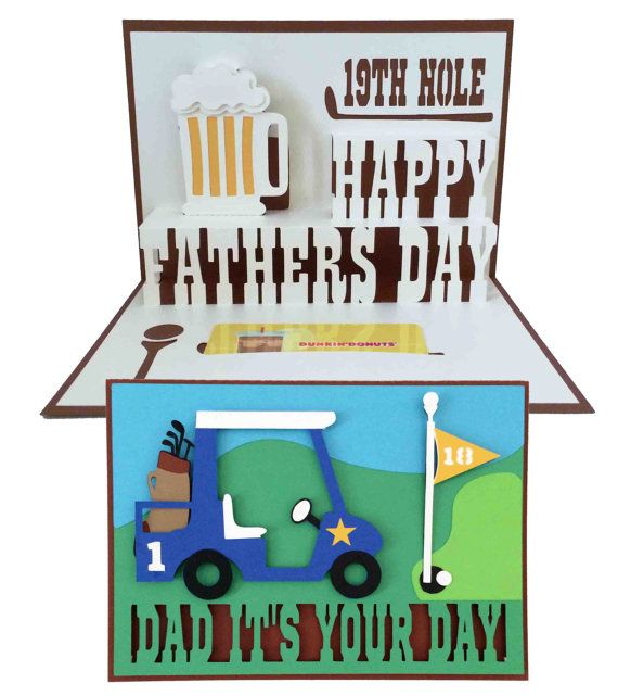Fathers Day Golf Pop Up Card 3D SVG by MyCasualWhimsy on Etsy, $1.99