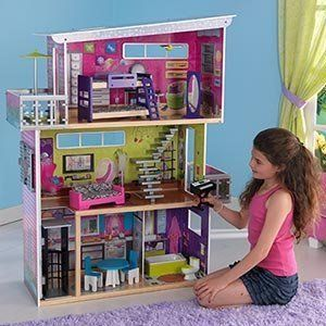"My MODERN DOLL HOUSE w LIGHTS & SOUNDS - DOLLHOUSE w 13 FURNITURE Pieces For Barbie & 11.5"" Dolls (2011 KidKraft) by Kidkraft. $146.44. House intended for Barbie & other 11.5"" fashion size dolls: NO DOLLS included.. For ages 3+ Years. My Modern DollHouse is a 2011 KidKraft production.. FEATURES: Lamp Lights Up, Keyboard plays Music, Toilet makes Flushing Sounds, Window Shutters Open/Close, & Gliding Elevator.. CONTENTS: Composite Wood Dollhouse w/Lights & Sounds i..."