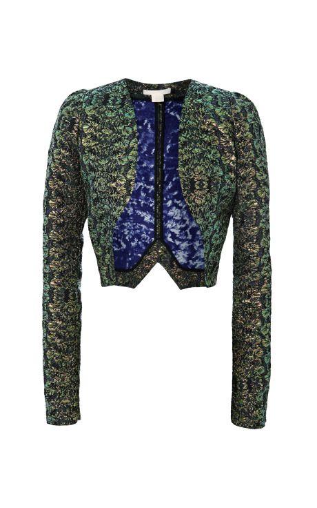 Bottle Green Iridescent Cloque Jacket