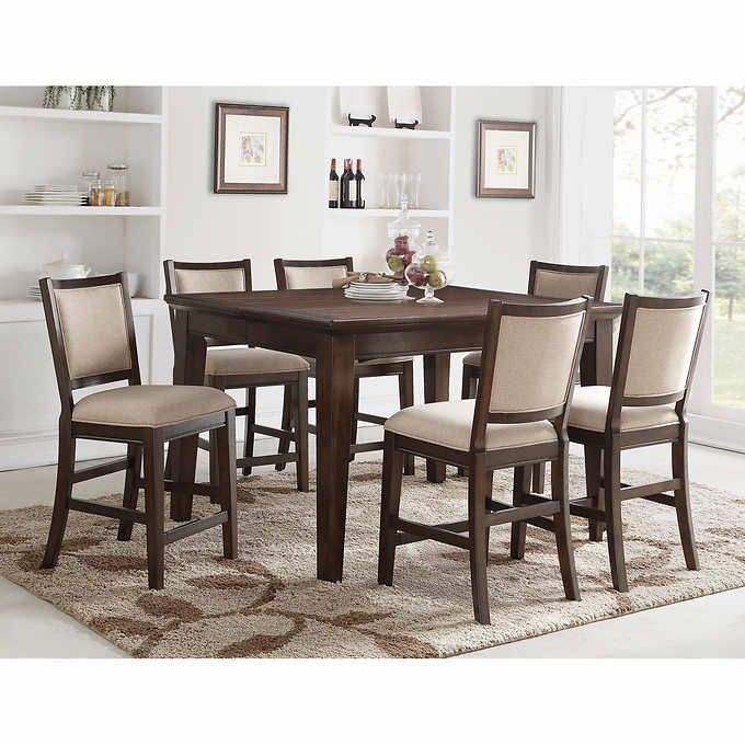 Callen 9 Piece Counter Height Dining Set Counter Height Dining Room Tables Counter Height Dining Sets Brown Dining Table