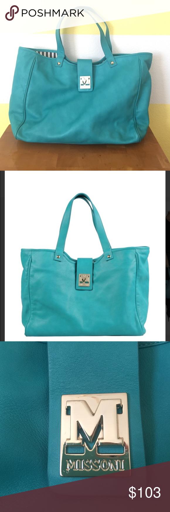 ef531d157e M Missoni Turquoise Leather Tote Bag M Missoni Turquoise Leather Tote Bag.  Soft turquoise leather
