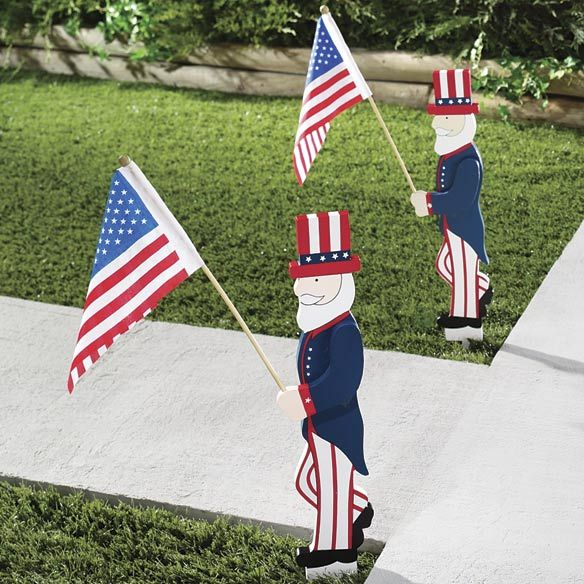 Uncle Sam U0026 Flag Patriotic Yard Stake 22 Inches Tall Of July Outdoor Decor