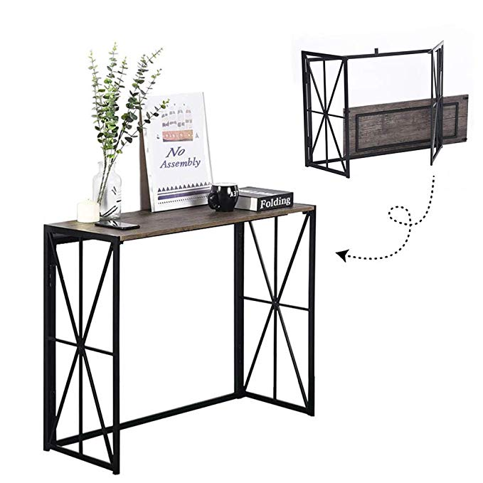 Amazon Com Folding Console Table No Assembly Wood Entryway Hall