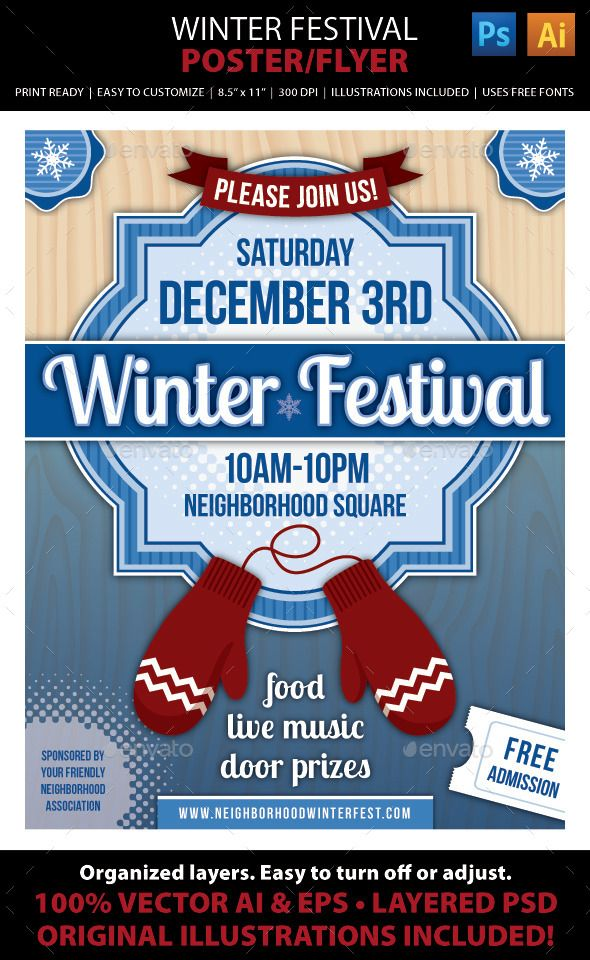 Winter Festival Poster or Flyer Winter festival, Festival - winter flyer template