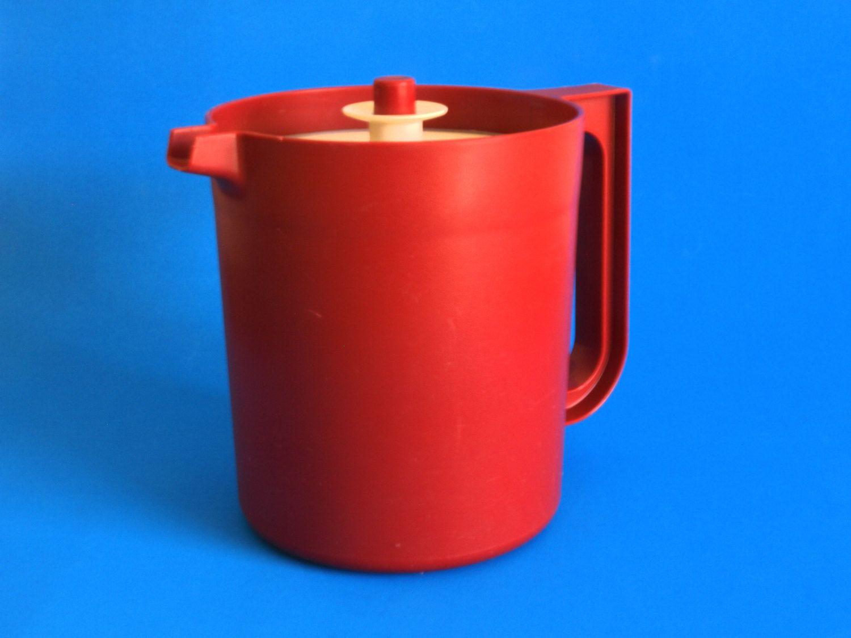 Retro Red Tupperware Jug or Pitcher - 70s Maroon Burgundy Plastic ...