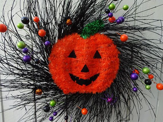 Pumpkin Wreath SALE PRICED Halloween Wreath Spider Wreath Halloween