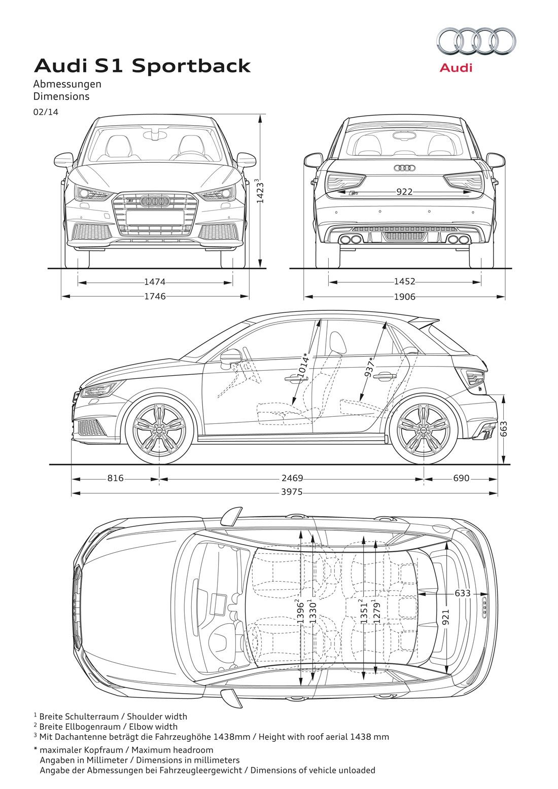 Audi S1 Sportback | Blueprints | Pinterest | Technische zeichnung ...