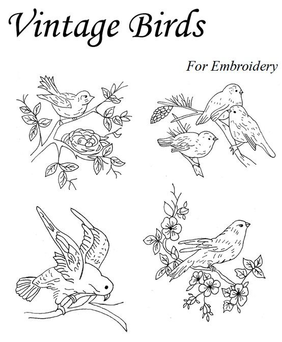 Vintage Birds Embroidery Pinterest Embroidery And Ribbon