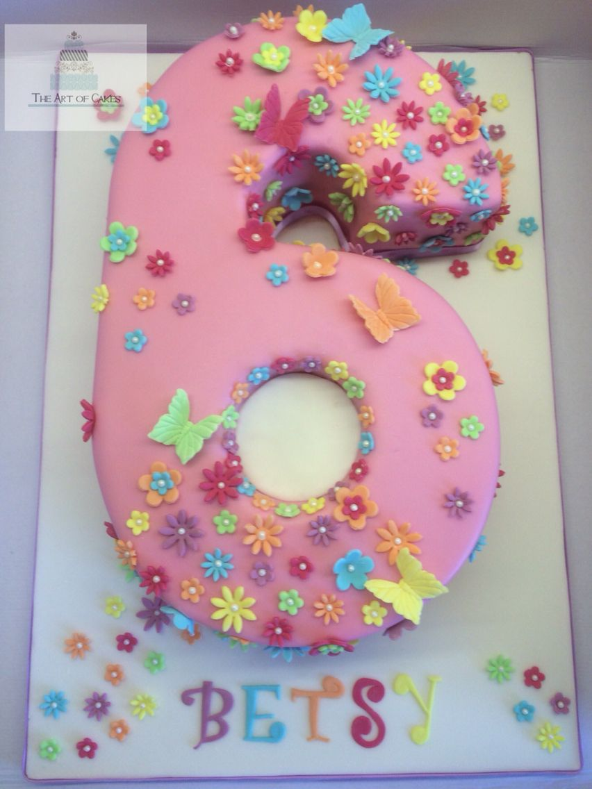 Fine Number 6 Birthday Cake Numberbirthday Cake Flowers Butterflys Funny Birthday Cards Online Alyptdamsfinfo