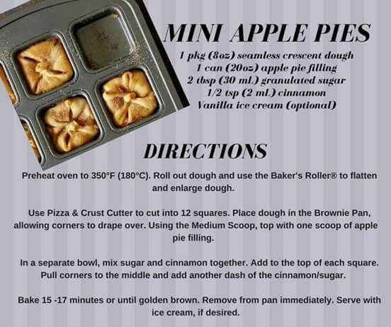 Mini Apple Pie With Images Pampered Chef Brownie Pan Recipes
