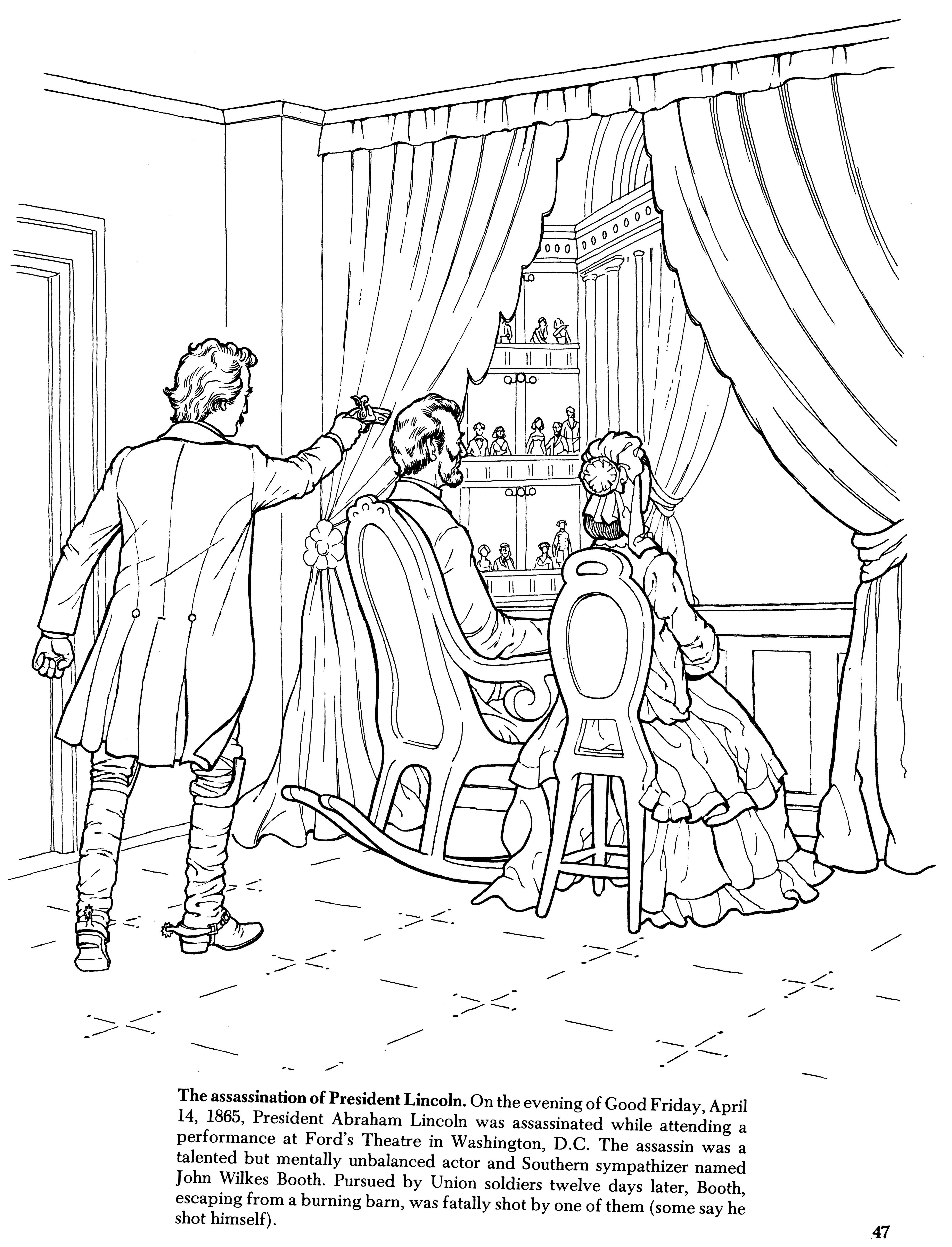 Lincoln S Assassination Coloring Book Page