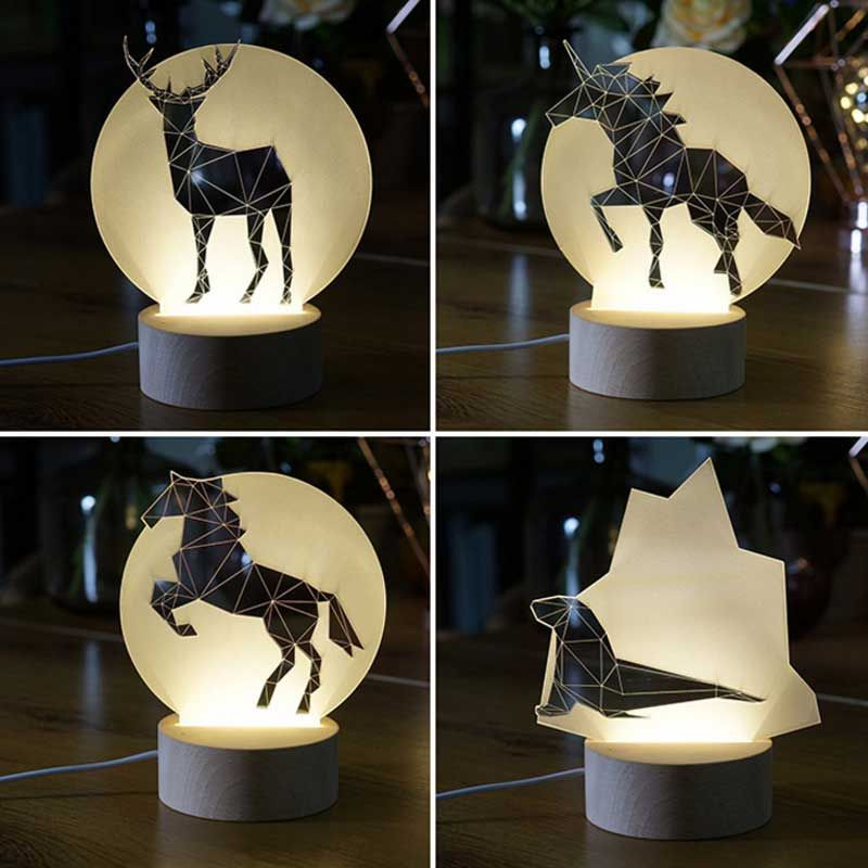 Nordic Wind Creative 3d Night Light Ins Lamp Modeling Lamp Cute Animal Modeling Pony Swallow Penguin Wolf Elk Bear F 3d Night Light Night Light Lamp