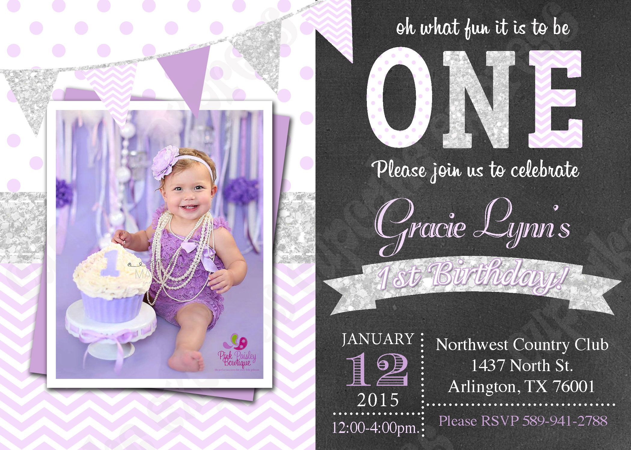 One First Birthday Girl Lavender Purple Silver PRINTABLE Photo - 1st birthday invitations girl purple