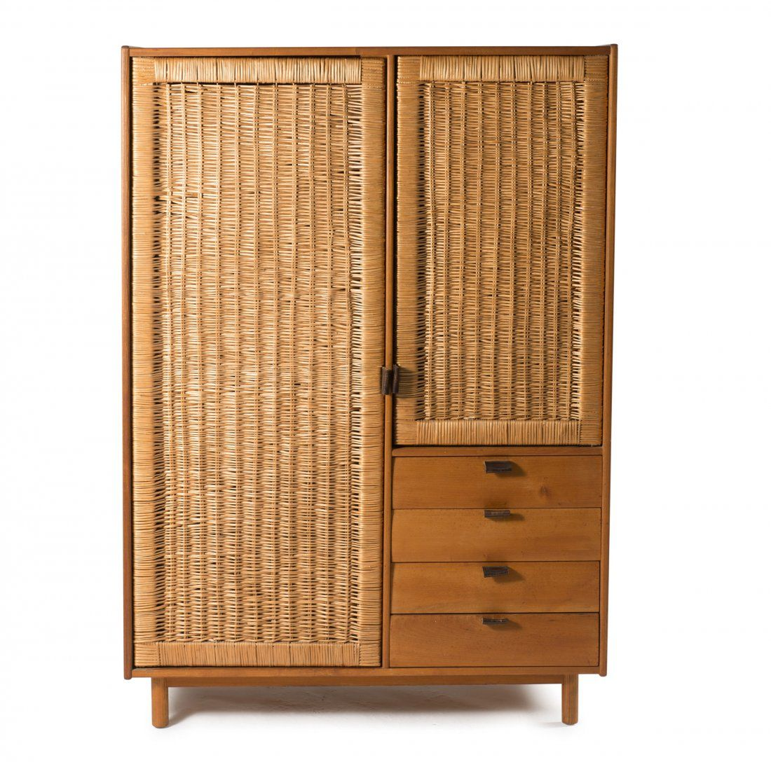 Elm, Rattan And Leather Wardrobe,