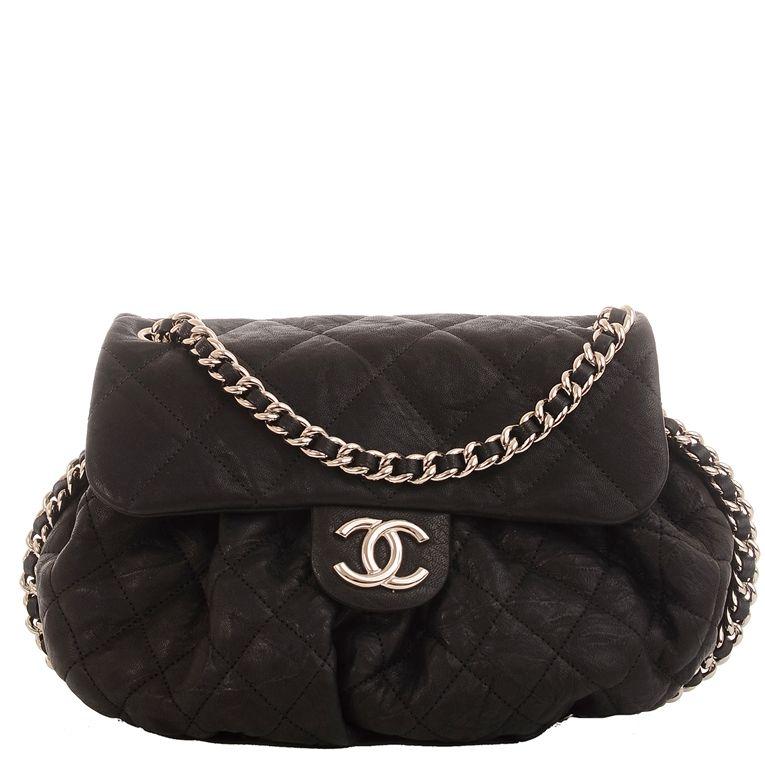 e68d7ed4f355  Chanel Chain Around Crossbody Messenger Aged Lambskin Medium  Bag in Black