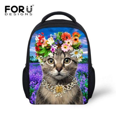 Kids 3d Animal School Bag Cute Cat Print Small Backpacks For Baby