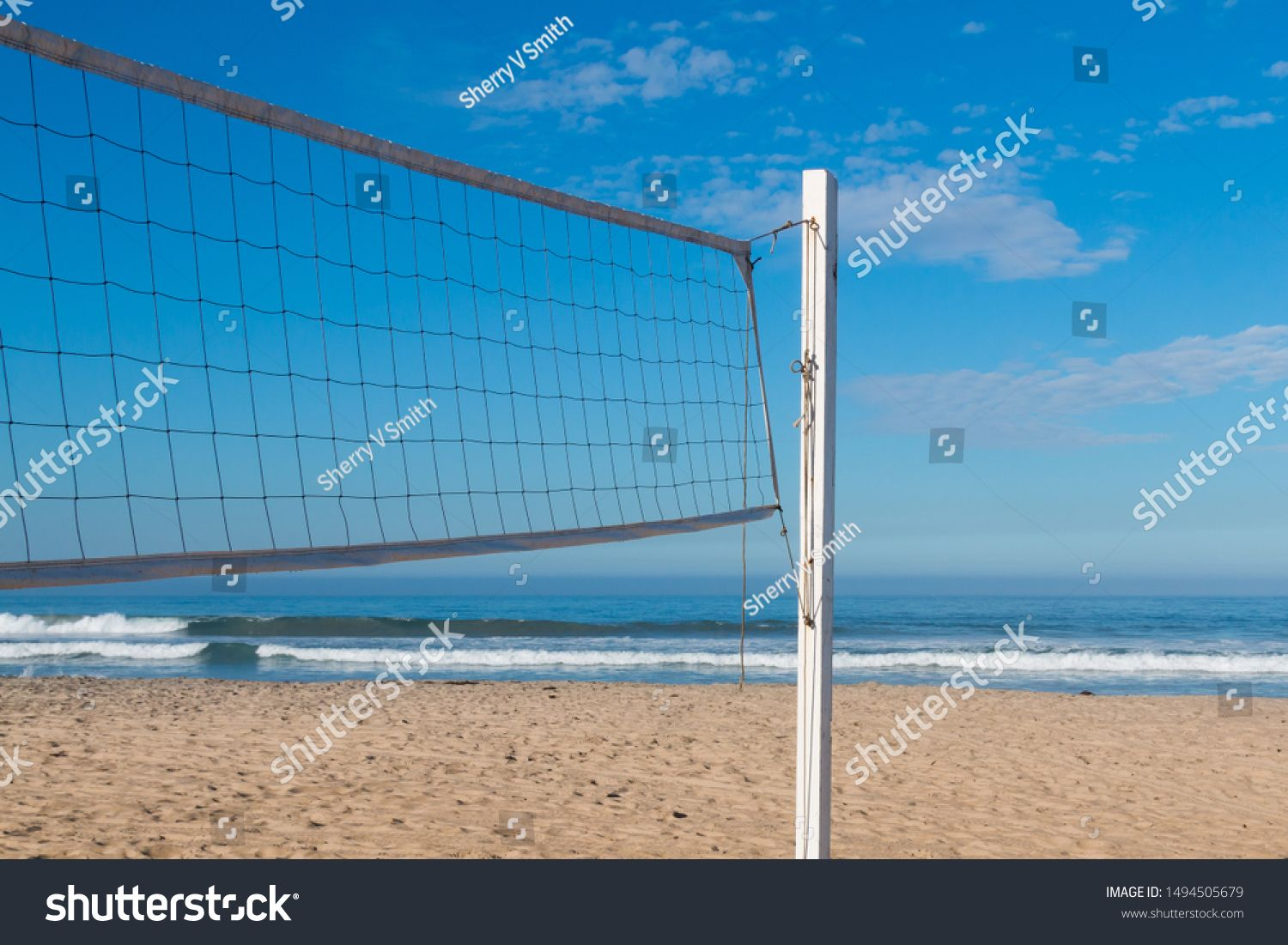 Volleyball Net On A Beach Sand Court With The Ocean In The Background Ad Ad Beach Net Volleyball Sand In 2020 Beach Sand Beach White Stock Image