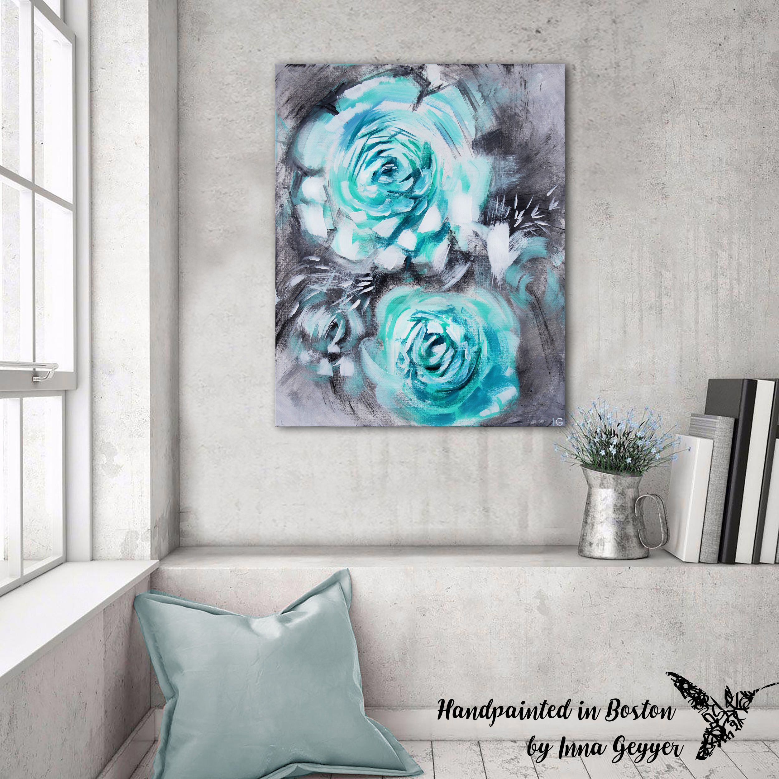 Teal Flower Art Teal Canvas Wall Art Blue Gray Canvas Art Teal Grey Art Abstract Painting Turquoise Gray Decor Teal Abstract Teal Bedroom By Artbyig On Etsy