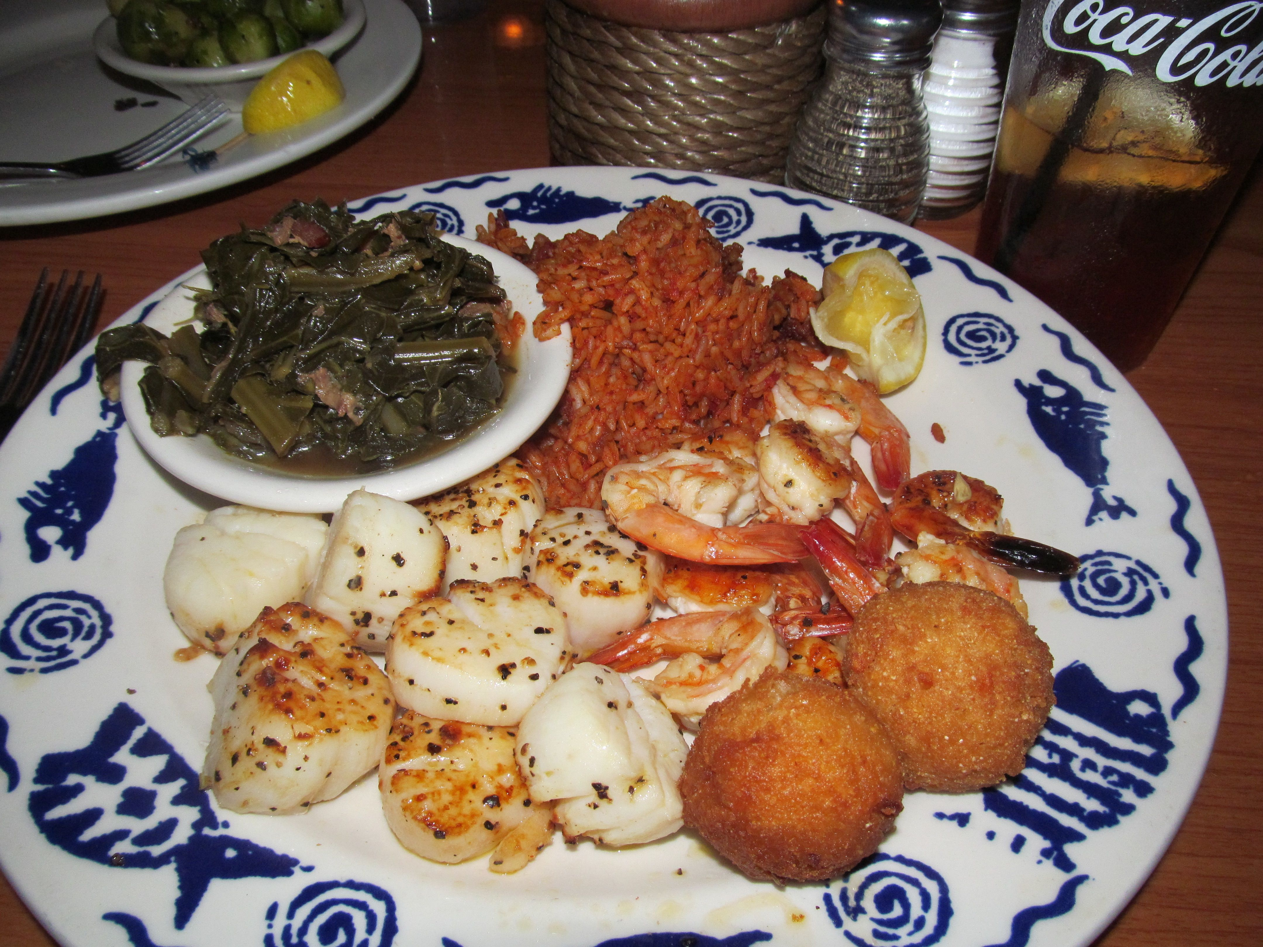 R B S Seafood Restaurant Mt Pleasant Sc Grilled Shrimp And Scallops Carolina Red Rice Collards Hush Puppies