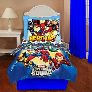Superhero Squad 4 Piece Toddler Bedding Set I Need This
