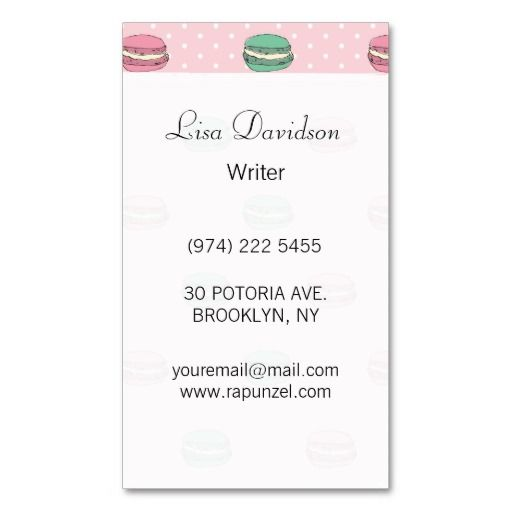 Paris Moon Macaron And Polkadots Business Card Templates  Macaron