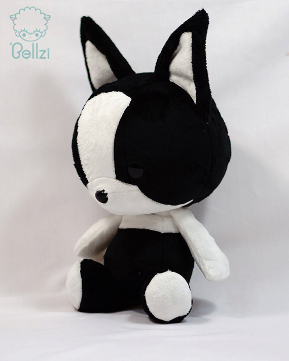 Cute Bellzi Black W White Contrast Boston Terrier Stuffed Animal