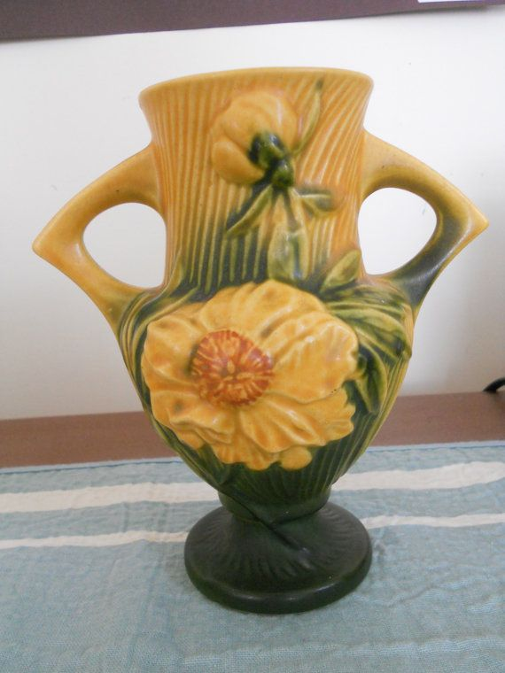 Pottery Vase Antique Roseville Peony Yellow Green 168 6 Aunt