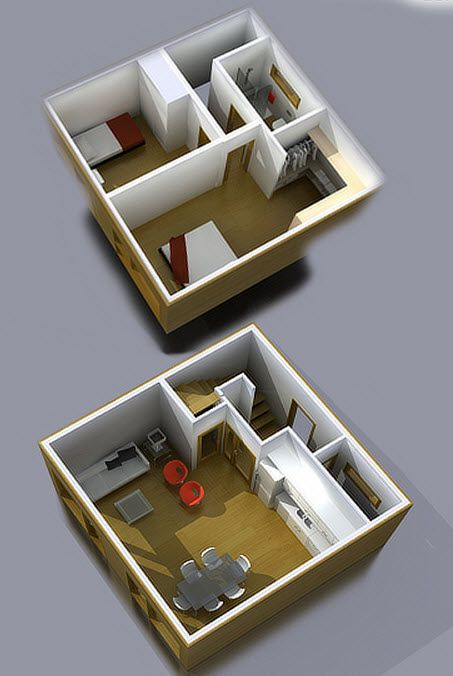 Planos de casas pequeñas y económicas de dos pisos, construcción en